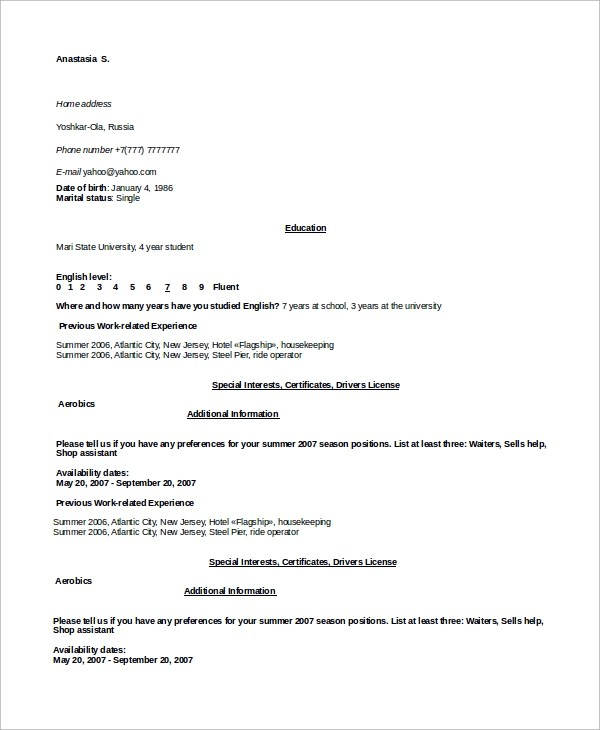 resume samples for housekeeping radiovkm
