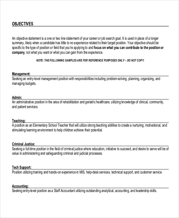 10+ Sample Objectives For Resume Sample Templates