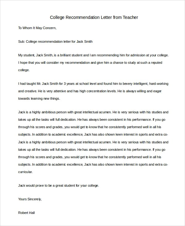 8+ Sample Letters of Recommendation for Teacher Sample Templates
