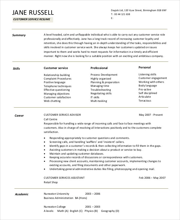 9+ Sample Resume Summary Statements Sample Templates