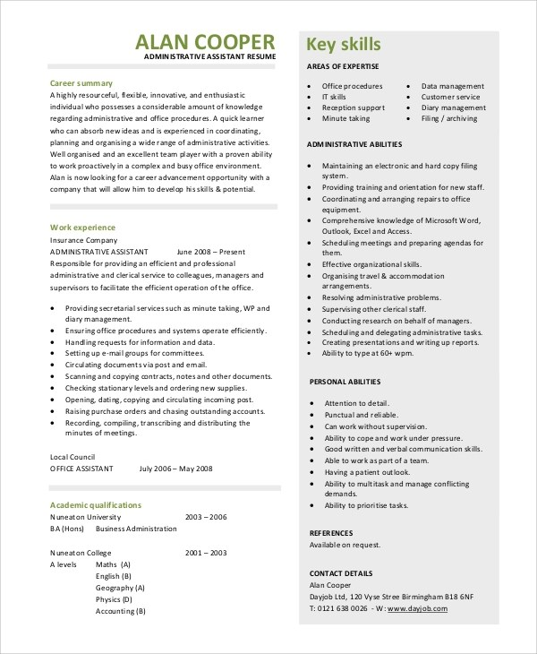 Sample Resume Summary Statement - 9+ Examples in Word, PDF - executive assistant resume summary