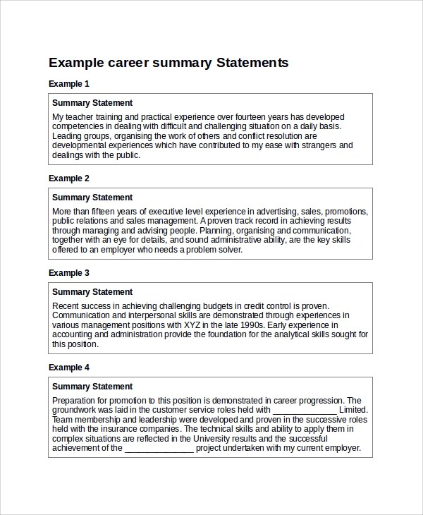 examples of summary statements for resumes - Intoanysearch - resume career overview example