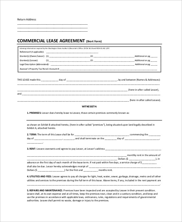 8+ Sample Lease Agreement Forms Sample Templates