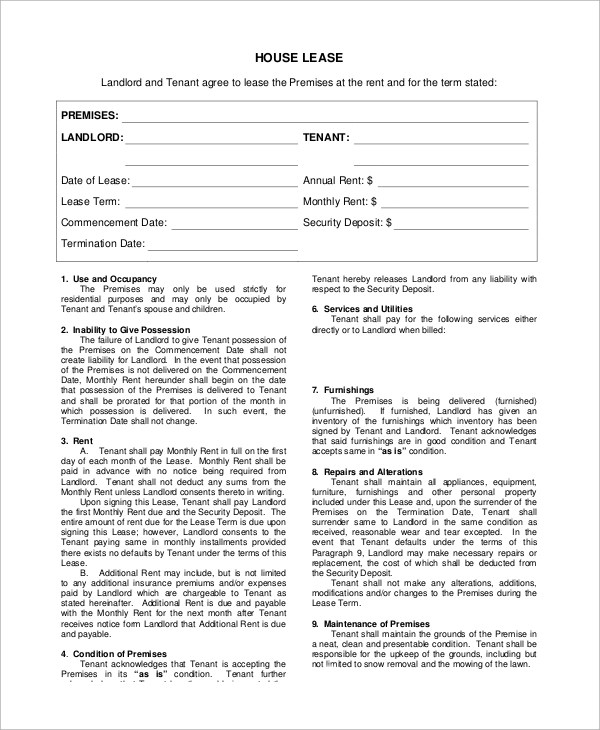Sample Lease Agreement Form - 8+ Examples in PDF