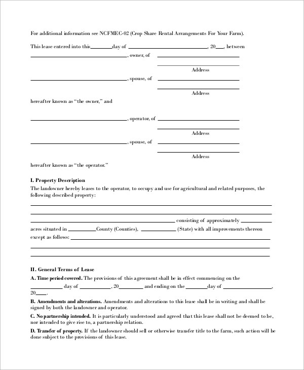 Sample Pasture Lease Agreement Template Sample Pasture Lease - Sample Pasture Lease Agreement Template