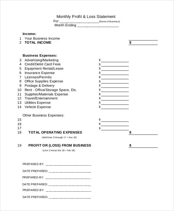 free simple profit and loss form in printable format