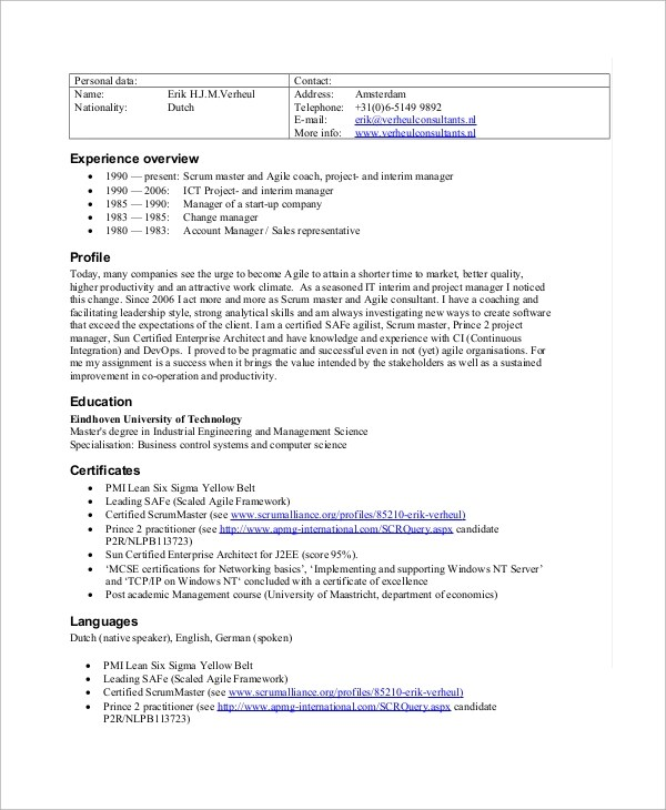 8+ Sample Scrum Master Resumes \u2013 PDF Sample Templates - Master Resume Example