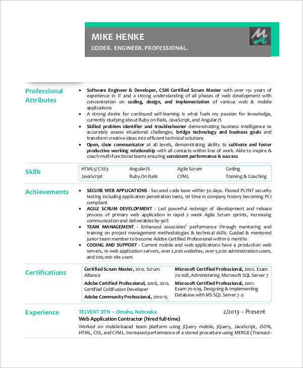 8+ Sample Scrum Master Resumes - PDF