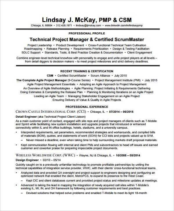 agile scrum master resume sample