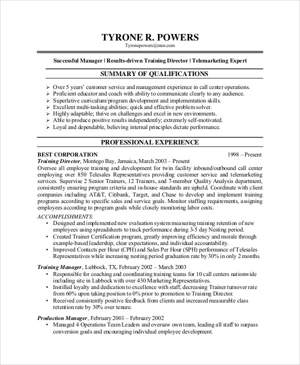 7+ Sample Customer Service Representative Resumes Sample Templates