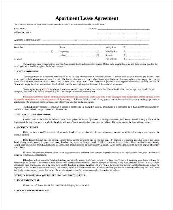 9+ Sample Basic Lease Agreements Sample Templates - Apartment Lease Templates