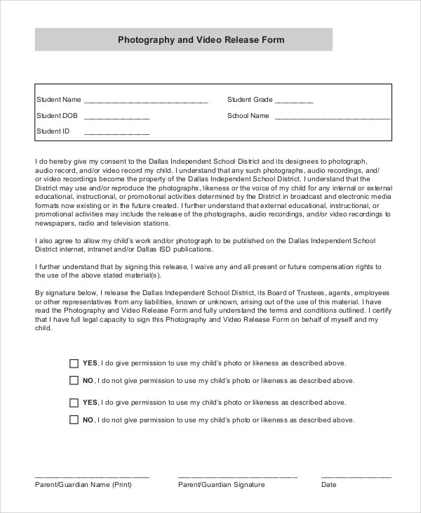 Sample Video Release Form - 9+ Examples in PDF, Word - legal release form template