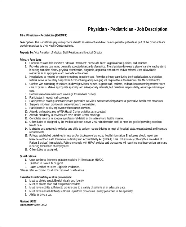 8+ Pediatrician Job Description Samples Sample Templates - Physician Job Description