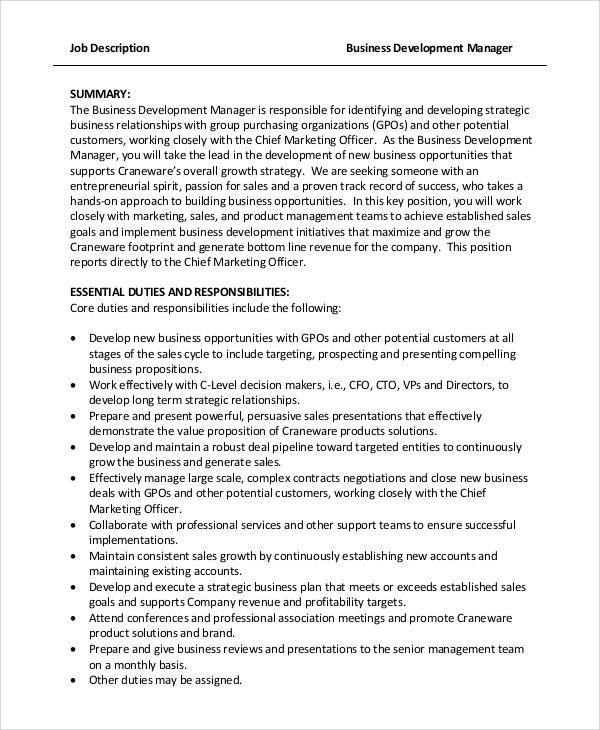 8+ Business Manager Job Description Samples Sample Templates