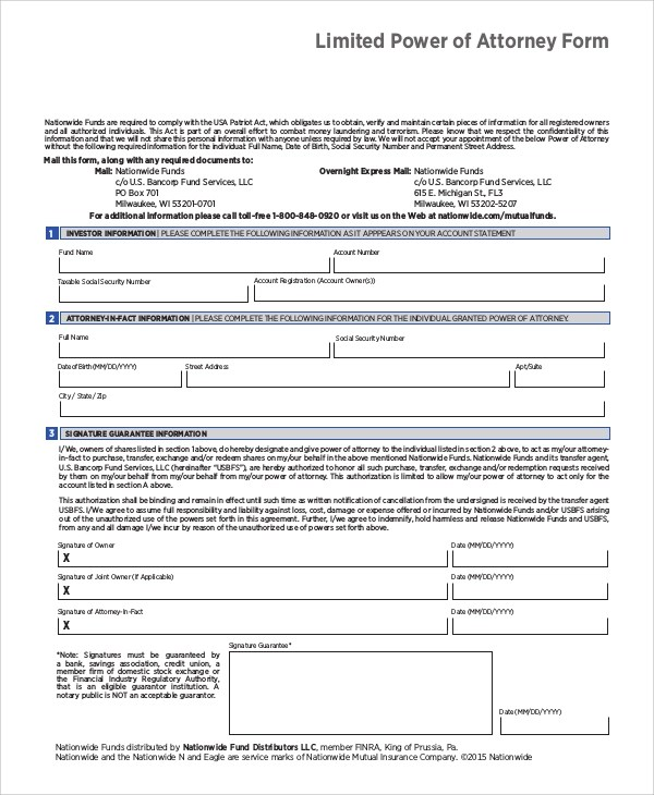 10+ Sample Limited Power of Attorney Forms Sample Templates
