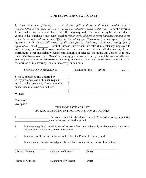 Sample Limited Power of Attorney Form - 10+ Examples in PDF, Word
