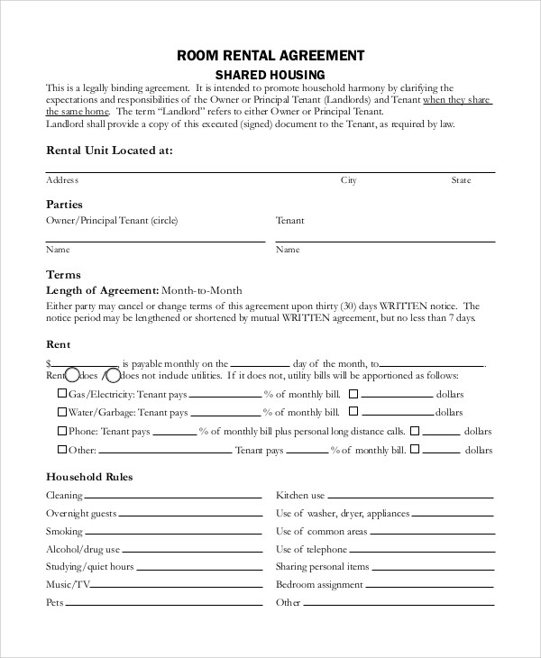 Sample Room Rental Agreement - 8+ Examples in Word, PDF - lease agreement form