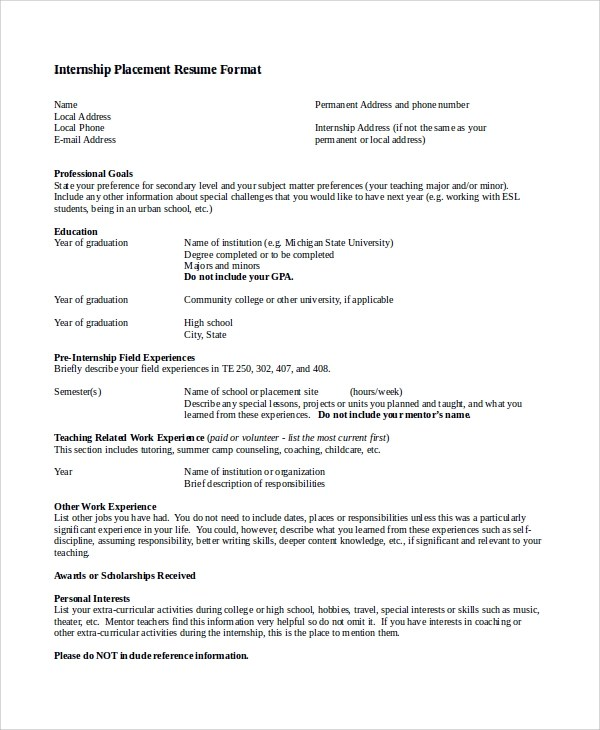 9+ Simple Resume Formats Sample Templates