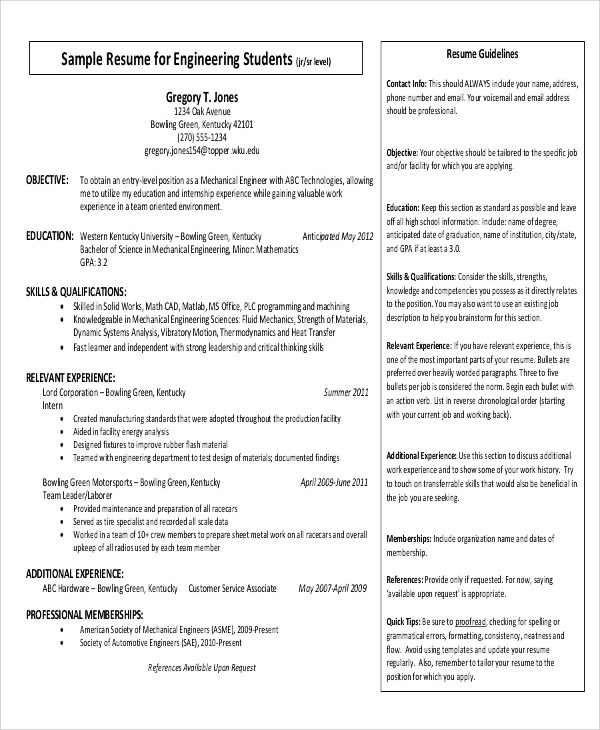 Simple Resume Format - 9+ Examples in Word, PDF