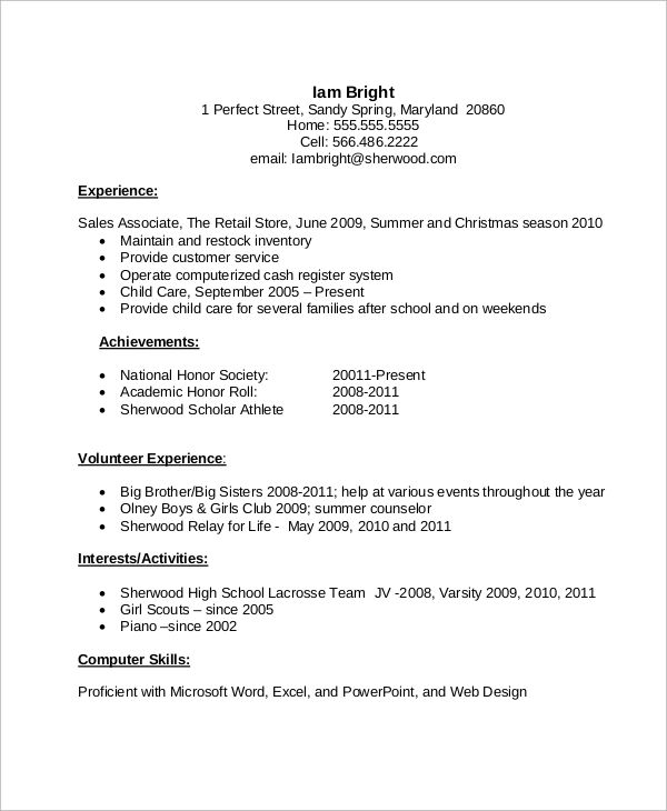 resume examples for high school