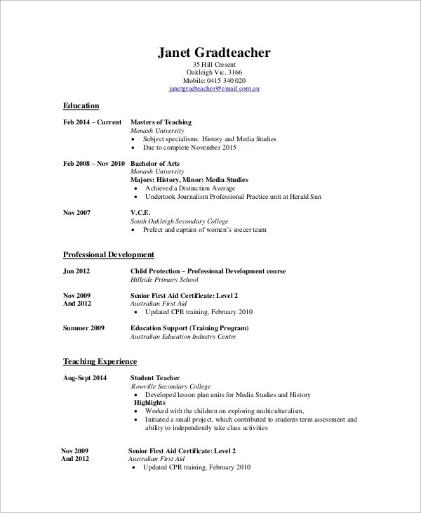 10+ High School CV Samples Sample Templates - cv primary school teacher