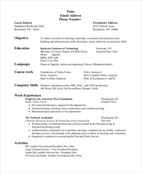 resume objective for college student examples