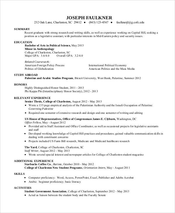 resume summary for college student - Demireagdiffusion