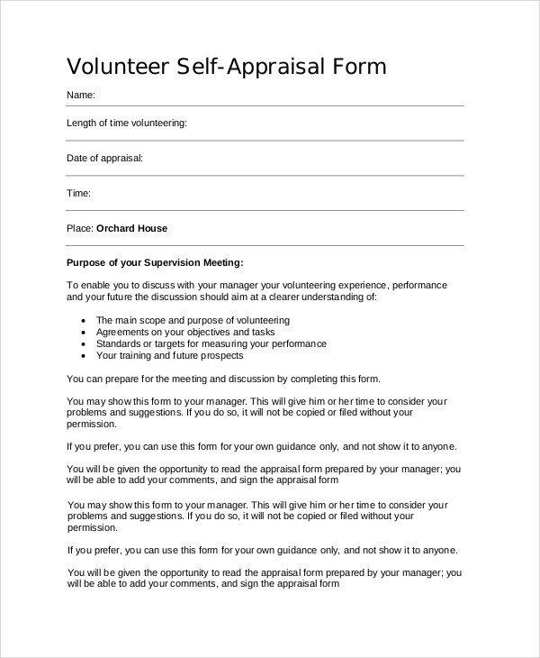9+ Self Appraisal Examples Sample Templates
