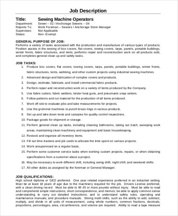 8+ Machine Operator Job Description Samples Sample Templates - machine operator job description