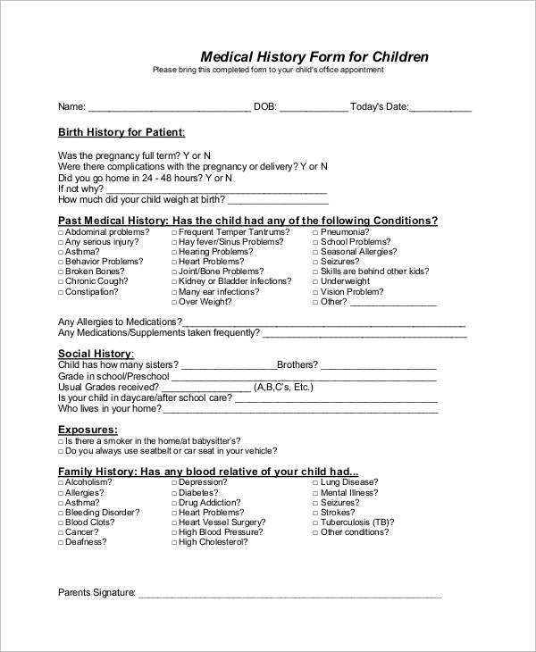 Sample Medical History Form - 10+ Examples in Word, PDF - medical clearance forms