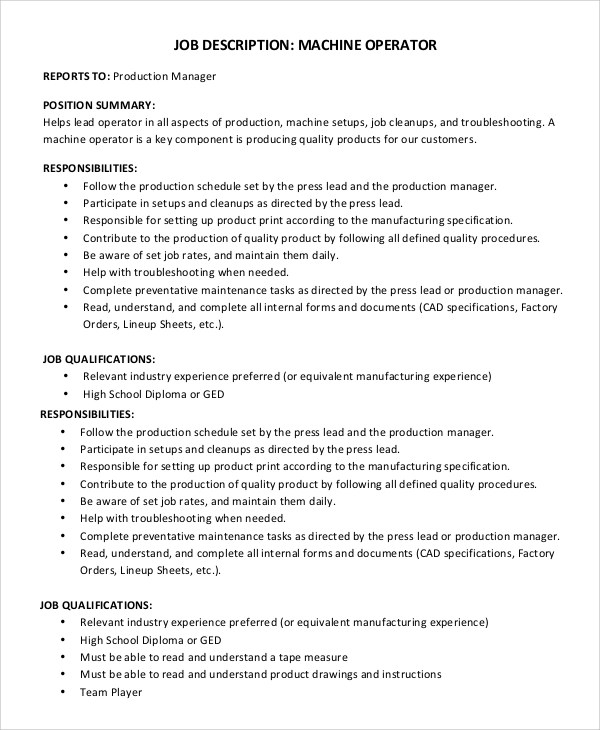 Sample Machine Operator Job Description - 8+ Examples in PDF - job qualifications sample