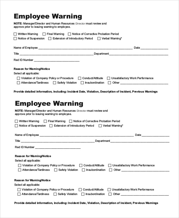 10+ Employee Warning Notice Samples - Google Docs, MS Word, Apple Pages