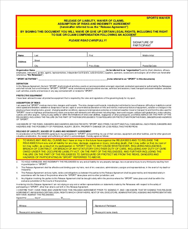 Sample Liability Waiver Form - 10+ Examples in Word, PDF - indemnity form template