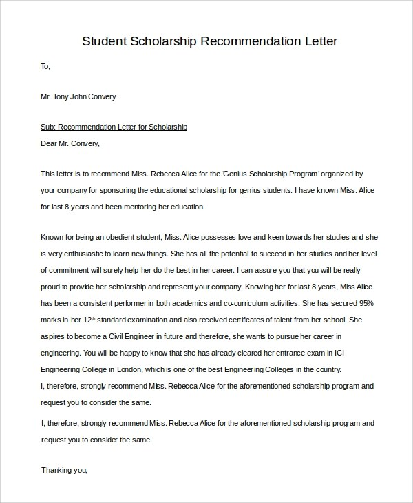 personal recommendation letter for student