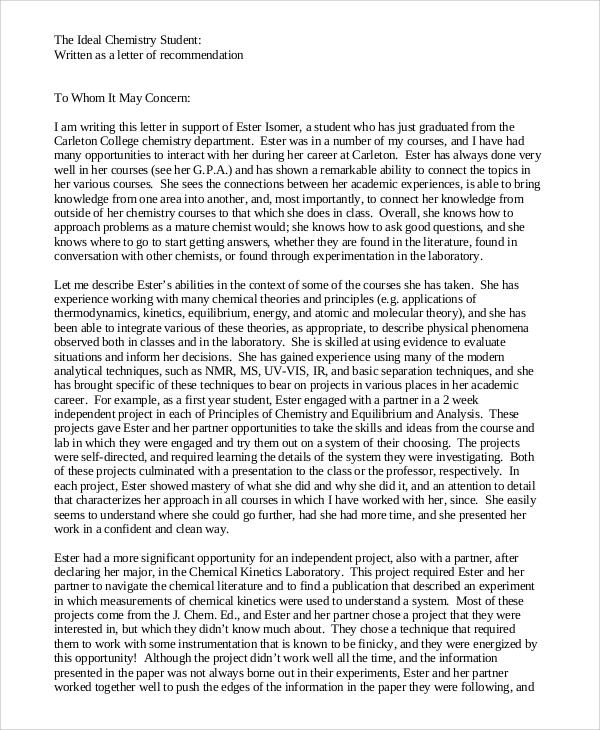 letter of recommendation sample student - Pinarkubkireklamowe