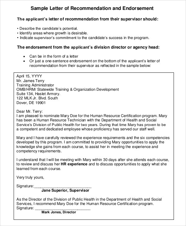 Sample Letter of Recommendation For Employment - 7+ Examples in - endorsement letter for employment
