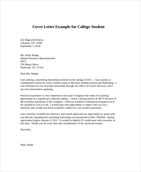 internship cover letter sample for college students - Acurlunamedia - cover letter student internship