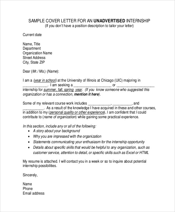 Sample Cover Letter For Internship - 9+ Examples in Word, PDF - cover letter for summer internship