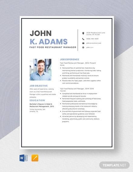 sample resume for restaurant manager objectives