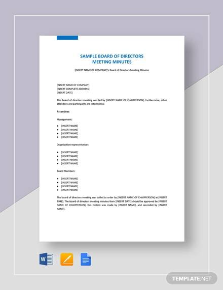 Sample Meeting Minutes Formats - 11+ Examples in PDF, Word, Google