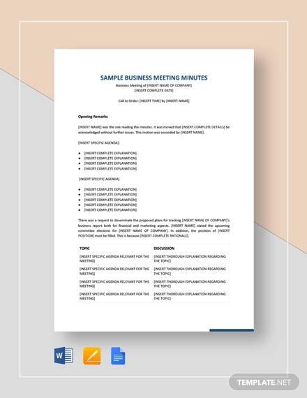 Sample Meeting Minute - 15+ Examples in Word, PDF, Google Docs
