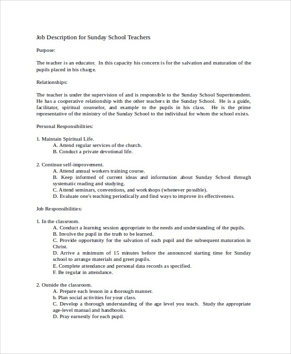 Teacher Job Description Best Resumes Bible Teacher Resume Sample