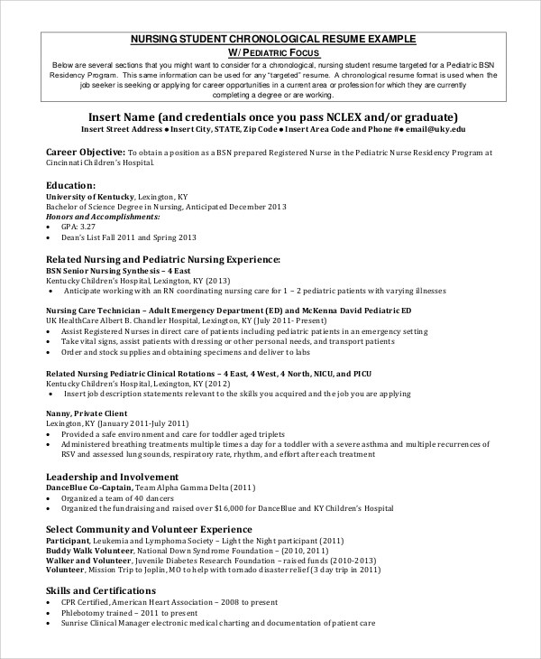 8+ Sample Nursing Student Resumes Sample Templates