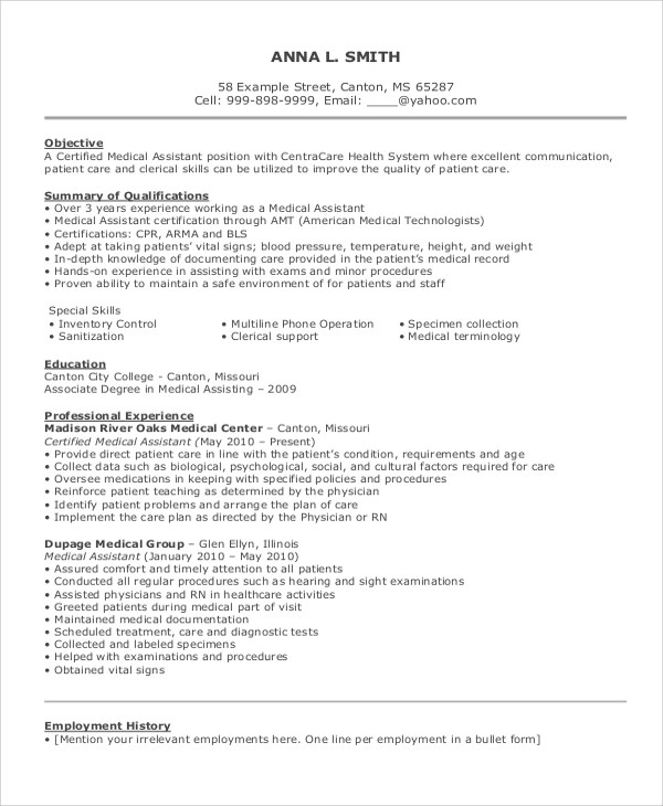 8+ Best Resume Examples for Job Sample Templates - resume objective examples for medical assistant