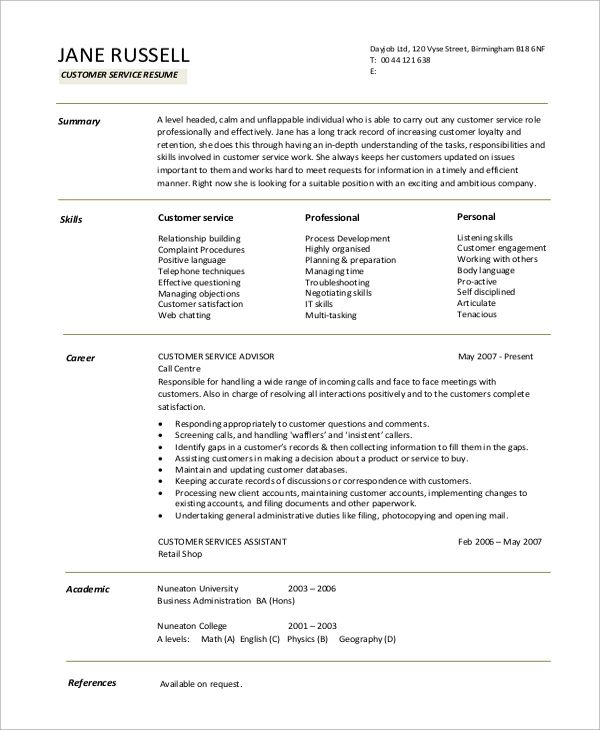resume summary for customer service example