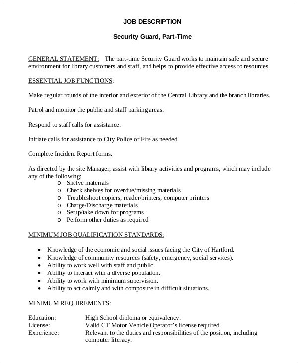 Sample Security Guard Job Description - 9+ Examples in PDF, Word