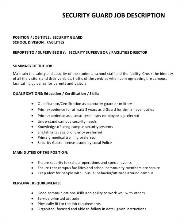 8+ Security Guard Job Description Samples Sample Templates