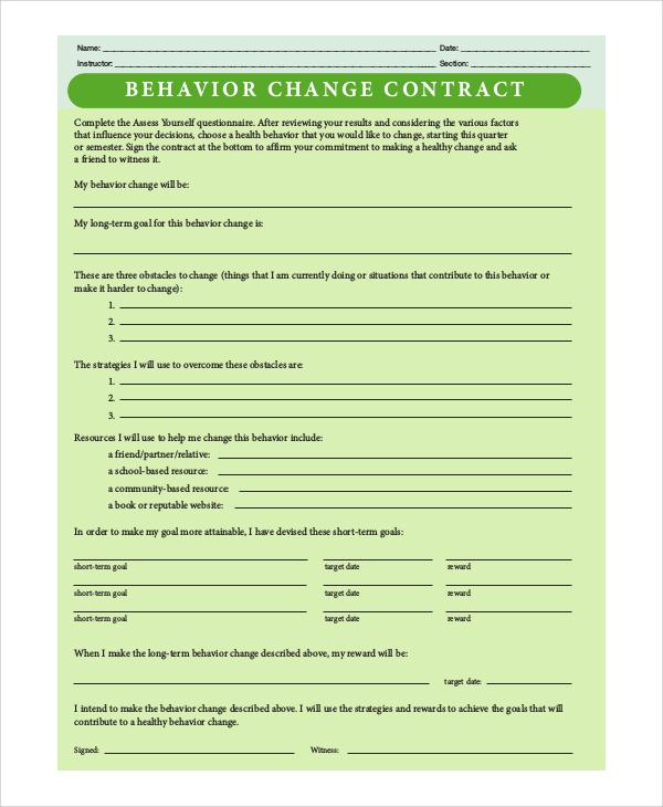 Unique Sample Behavior Contract Image Collection - Resume Ideas
