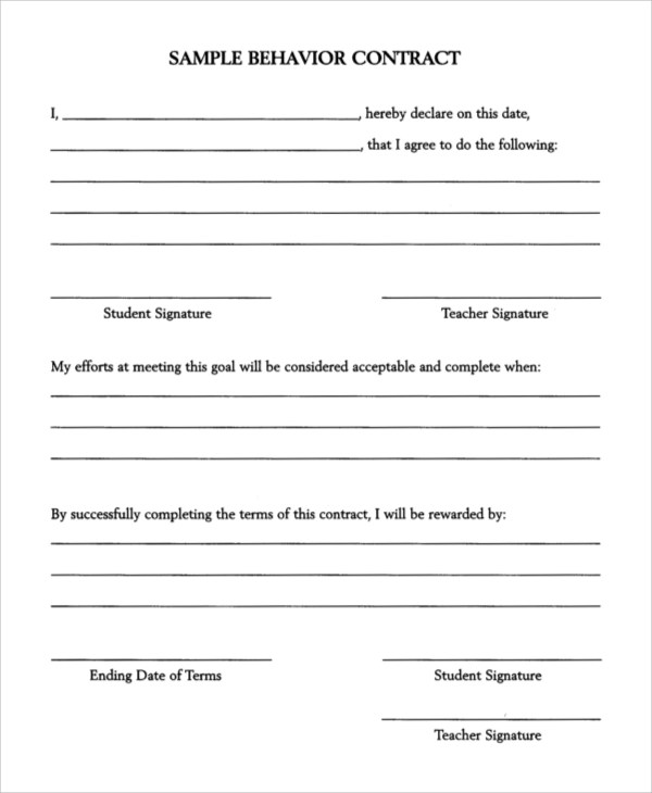 11+ Behavior Contract Samples Sample Templates - Student Contract Templates