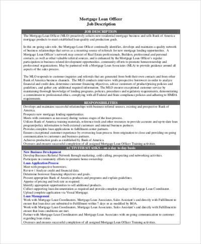 8+ Loan Officer Job Description Samples | Sample Templates